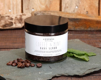 COFFEE & MINT Body Scrub. Sugar and Dead Sea Salt Scrub With Cacao, Coconut and Shea Butters And Essential Oils. 250g. Glass Jar.