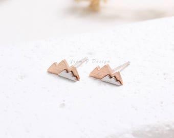 Combination Colors Small Mountain Stud Earrings