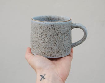 Bluestone Ceramic Mug with Speckles. Handmade. Wheel Thrown.