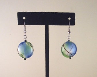 Blue and Green with Black Swirls Drop Earrings