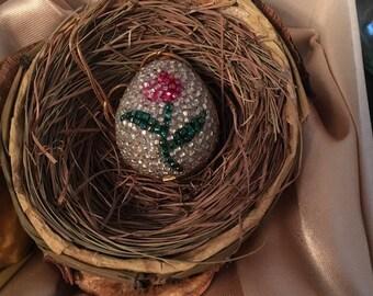 Hand Beaded Quail Egg - Flower and Heart