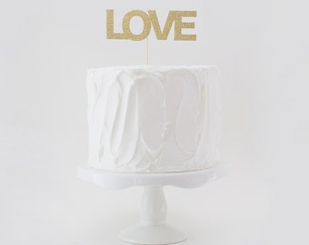 LOVE Cake Topper, Wedding Cake Topper, Glitter Wedding Cake Topper