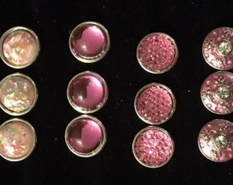 Various Shades of Pink 12mm Interchangeable Snaps - They fit all 12mm Snap Jewelry