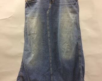 1990's Grunge Levi's Distressed Long Skirt with Train | Size 7 | Rare R Tag | Midi Length Skirt | Modest Skirt | High Low | Jean Skirt