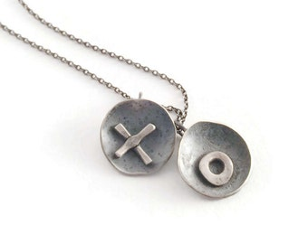 X's & O's *   Rustic Charm, Artisan Blackened Silver Necklace,