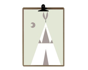 Tipi nursery print - Nursery art prints - baby nursery decor - nursery wall - Children Art - Kids Room