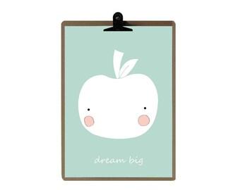 Apple nursery print - Green Color Nursery art prints - baby nursery decor - nursery wall - Children Art - Kids Room