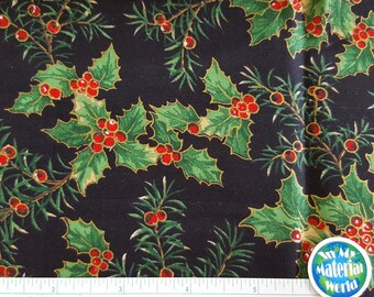 Christmas Fabric, Holly, Red & green on Black, 100% Cotton, Quilting fabric, OOP, BTFQ