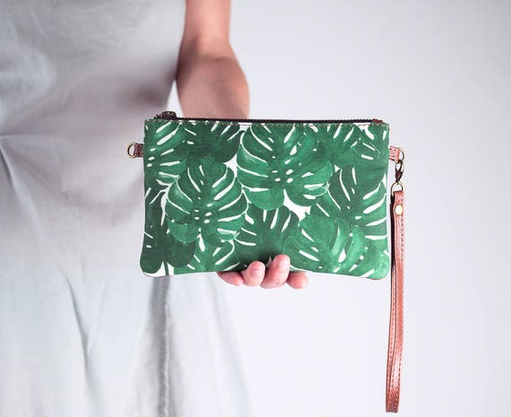 Monstera Clutch Wallet with Shoulder Strap, Mini Crossbody Bag, Convertible Bag, Wristlet Purse, Leather and Canvas Bag, Zipper pouch,  Leaf
