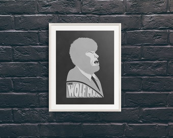 Lon Chaney Jr. as The Wolf Man | 8 x 10 Werewolf Art | Pop Art Monster | Black and White Decor | Classic Monsters | Graphic Illustration