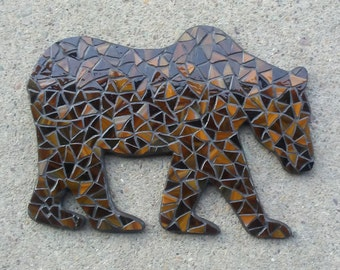 Glass Mosaic Wall Art, Brown Bear/Grizzly