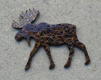 Glass Mosaic Wall Art, Moose