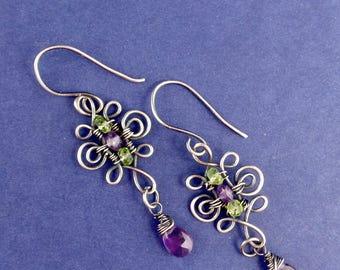 Victorian inspired earrings - Gothic earrings - Oxidised silver earrings - Vintage style earrings - Antiqued earrings - Silver jewellery