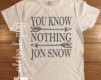 Game of Thrones Shirt, You Know Nothing Jon Snow, Jon Snow, Night Watch, Hodor, GOT, TV Show, Fandom, 100% USA Cotton Shirt, Game of Thrones