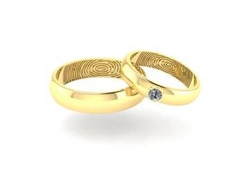 14K Gold Diamond Wedding Set - Gold Engagement Set - Diamond Gold Set - Fingerprints Set - Personalised Rings - Bridal Set