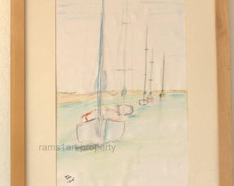 boats convoy, watercolor for sale, small size painting, seascape painting, Art & Collectibles, boats painting, watercolor painting,