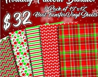 "12""x18"" (5 Pack) Holiday Pattern HTV Bundle"