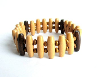 Mens wooden stretch bracelet, wood beaded bracelet mens, brown wood bracelet, two tone wooden bracelet, wooden elastic bracelet