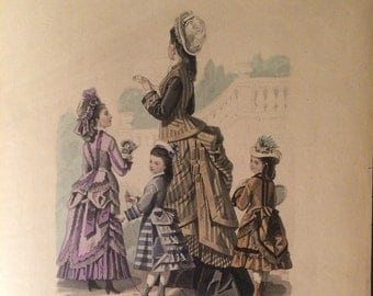 "French Fashion Plate PRINT from ""La Mode de Paris"", 1800's"