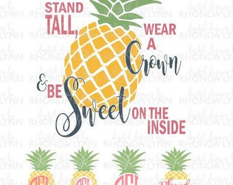SALE! Be a Pineapple SVG dxf png jpg cut file | Pineapple Monogram SVG | Pineapple Frames | Pineapple Digital Download | Pineapple Clipart