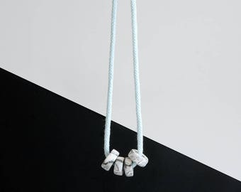 Minimalist MARBLED clay beads necklace on MINT PASTEL cotton rope
