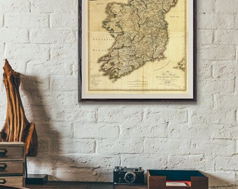 Antique Ireland Map - Reproduction vintage old Irish map, Old Map, Home Decor, Map print