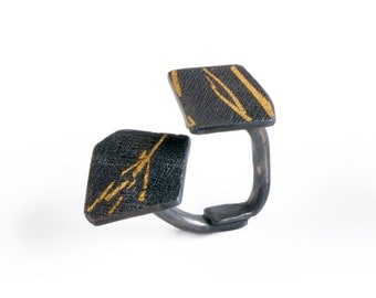 black and gold ring with geometric shapes, unique black ring, black & gold geometric ring, dramatic ring, modern ring, unique texture ring