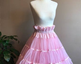 Vintage Cotton Candy Pink Petticoat Ruffle // 3 Tier Double Layer Pink Square Dancing Petticoat Swing Dancing Pin Up Crinoline Rockabilly