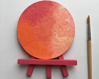 Original Art, Miniature Art, Mini Painting, Abstract Painting, Abstract Art, Pink & Orange Art, Original Painting, Round Art