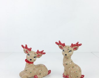 Vintage Christmas Calico Ceramic Deer Figurines