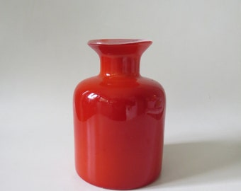 Retro Style Burnt Orange Handmade Cased Glass Vase Mid Century Modern