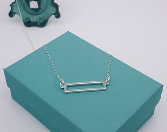 Open Bar Necklace | Sterling Silver | Bar Necklace | Rectangle Necklace
