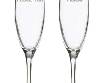 I love you I know champagne flutes, etched geeky wedding glasses, Toasting clarets, comic book wedding, geeky nerdy wedding gift, video game