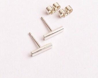 Bar Earrings, Line Earrings, Tiny Studs, Minimalist Earrings, Sterling Silver Stud Earrings, Studs, Silver Jewellery, UK Jewellery, UK studs