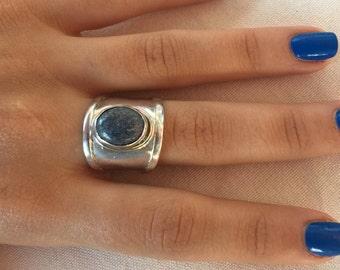 Lapis lazuli silver ring, Lapiz Ring size 8.5, Blue Stone Ring, Oval lapiz ring, Blue lapiz lazuli ring, Lapiz lazuli gemstone, 925 ring,