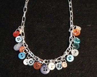Vintage Button Necklace with blues