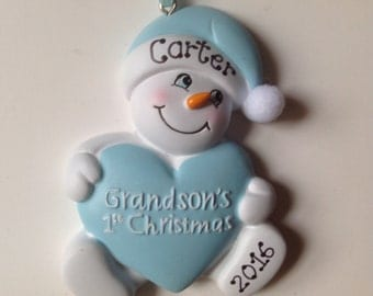 33% Off Personalized Grandson's First Christmas Ornament Blue  Snowbaby ,Newborn, 1st Birthday , Birth Announcement , Christening Favors