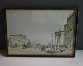 Antique Framed Ready to Hang Watercolour Painting, Decorative Black & Gold Framed Print, Vintage Art, Hyde Park London, City Street Scene