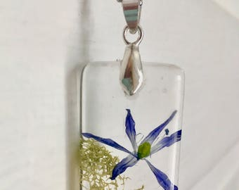 Blue flower resin pendant, REAL flower and moss necklace