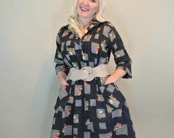 60s Black MOD Floral Shirt Dress with Front Pockets