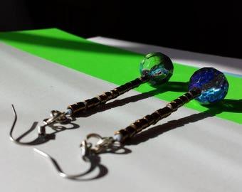 BURTI -- Bohemian Crystal dangling disco ball earrings