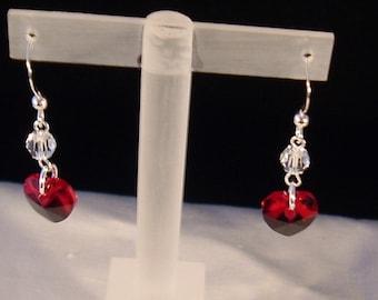 Swarovski® Crystal Heart Earrings, Sterling Silver Earrings, Crystal Earrings, Swarovski® Earrings, Red Earrings, Metal Jewellery, Earrings