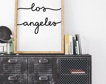 Los Angeles Print, LA Poster, LA Wall Art, LA Wall Decor, Home Decor, Modern calligraphy, Large Wall Art Print, hand lettered script