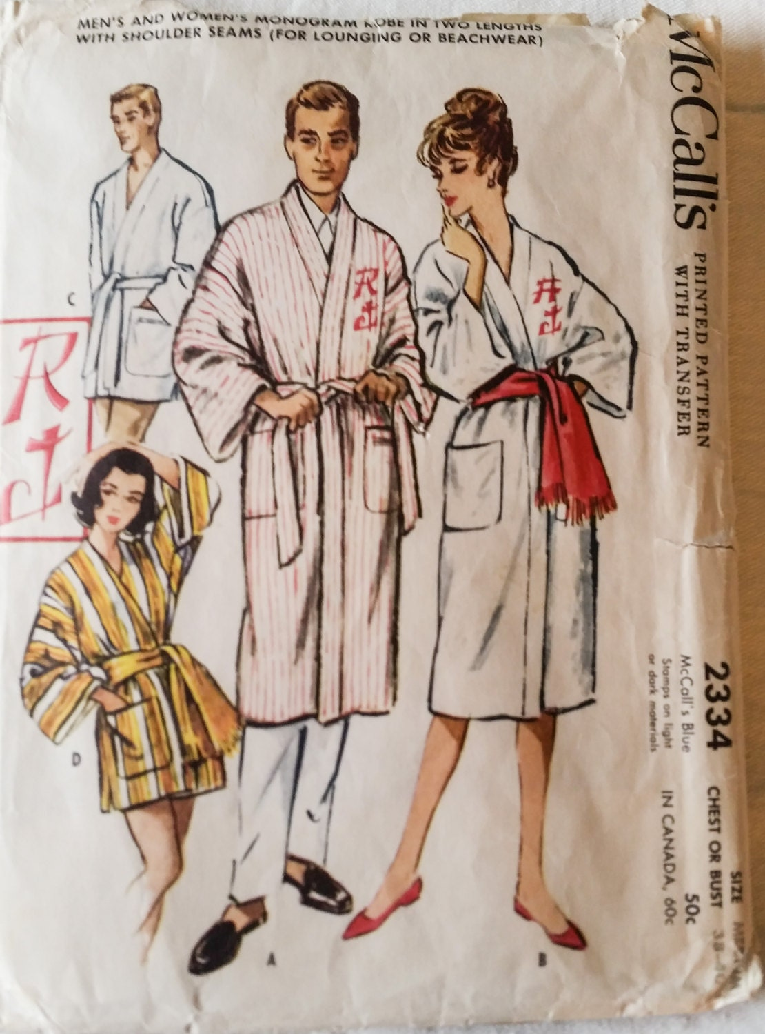 Vintage mens womens sewing pattern robe sleepwear beach robe sold by kingsantafun jeuxipadfo Gallery