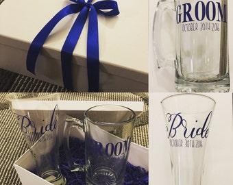 Bride & Groom Wedding Keepsake Glasses