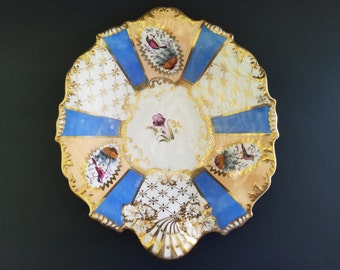 Ornate Trinket Dish ~ Birds ~ Gold Gilt ~ Blue Accents ~ Knick Knack Bowl