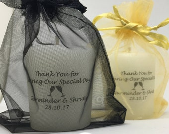 100 Personalised wedding candle favours