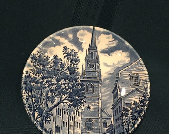"""Liberty Blue 4"""" Coaster dish, Old North Church, Made in England"""