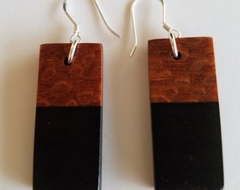 Sterling Silver Ebony and Lace Wood Earrings