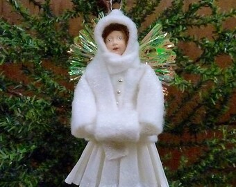 Spun Cotton Angel Ornament, Handmade Ornament, Angel Ornament, Paper Clay Ornament, Victorian Ornament, Vintage Inspired Christmas
